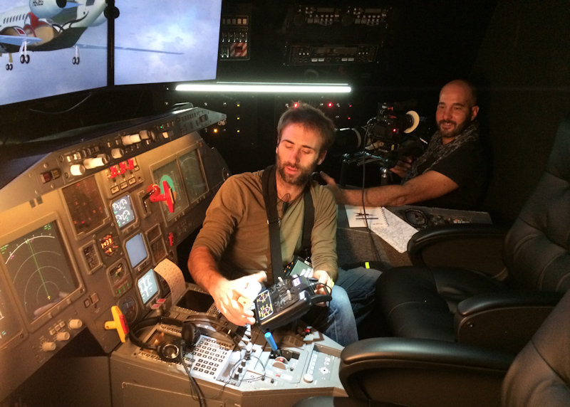Equipe de tournage dans la cabine